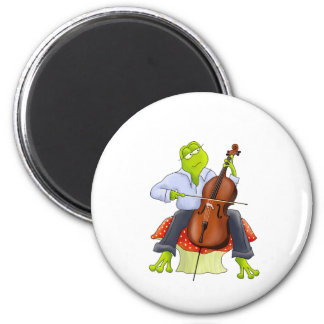 Frog Plays Cello 2 Inch Round Magnet