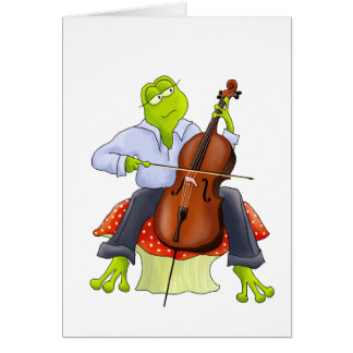 Frog Plays Cello Greeting Card