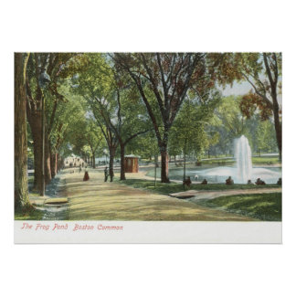 Frog Pond, Boston Common c1910 Vintage Poster