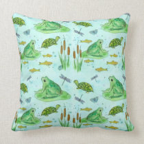 Frog Pond Goldfish Turtles Dragonfly Green Throw Pillow