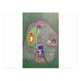 Frog Pond Original Acrylic Painting Postcard