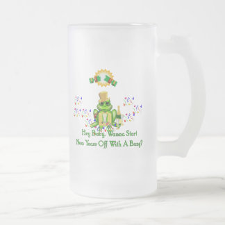 Frog Prince 16 Oz Frosted Glass Beer Mug