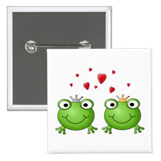 Frog Prince and Frog Princess, with hearts. 2 Inch Square Button