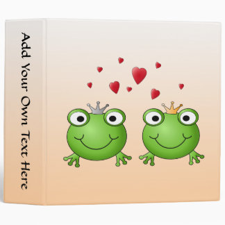 Frog Prince and Frog Princess, with hearts. 3 Ring Binder