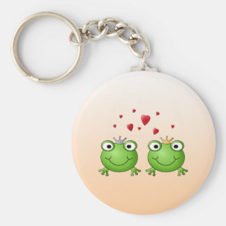 Frog Prince and Frog Princess, with hearts. Basic Round Button Keychain