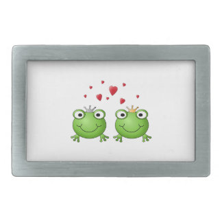 Frog Prince and Frog Princess, with hearts. Rectangular Belt Buckle
