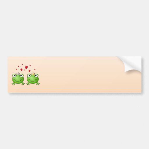 Frog Prince and Frog Princess, with hearts. Car Bumper Sticker