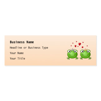Frog Prince and Frog Princess, with hearts. Business Card Templates