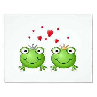 Frog Prince and Frog Princess, with hearts. Card