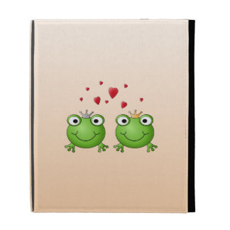 Frog Prince and Frog Princess, with hearts. iPad Case