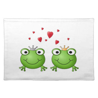 Frog Prince and Frog Princess, with hearts. Cloth Placemat