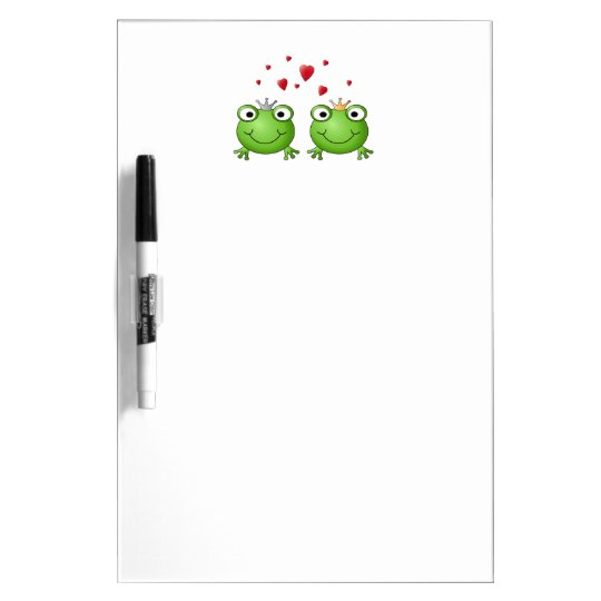 Frog Prince and Frog Princess, with hearts. Dry Erase Board