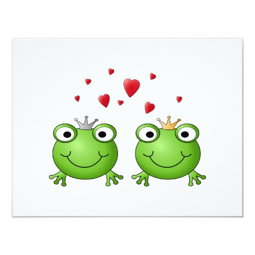 Frog Prince and Frog Princess, with hearts. 4.25x5.5 Paper Invitation Card