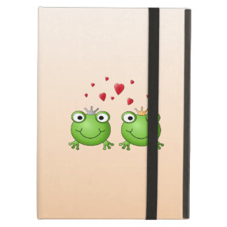 Frog Prince and Frog Princess, with hearts. iPad Folio Cases