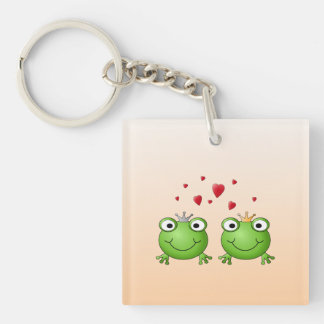 Frog Prince and Frog Princess, with hearts. Keychain