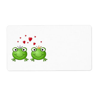 Frog Prince and Frog Princess, with hearts. Label