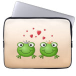 Frog Prince and Frog Princess, with hearts. Laptop Computer Sleeves