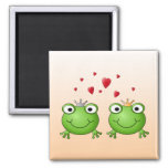 Frog Prince and Frog Princess, with hearts. 2 Inch Square Magnet