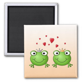 Frog Prince and Frog Princess, with hearts. Magnet