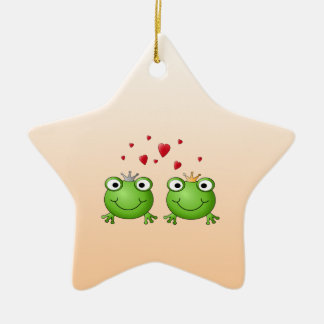 Frog Prince and Frog Princess, with hearts. Double-Sided Star Ceramic Christmas Ornament