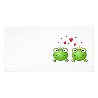 Frog Prince and Frog Princess, with hearts. Custom Photo Card