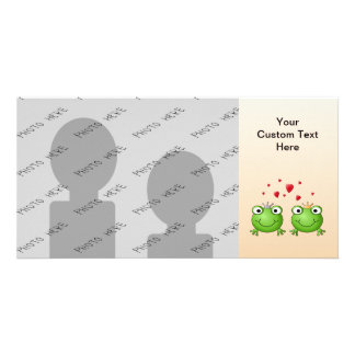 Frog Prince and Frog Princess, with hearts. Photo Card Template