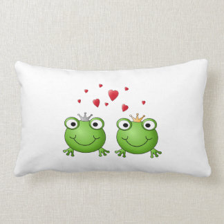 Frog Prince and Frog Princess, with hearts. Pillow