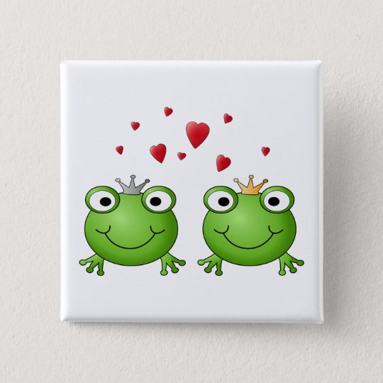 Frog Prince and Frog Princess, with hearts. Pinback Button