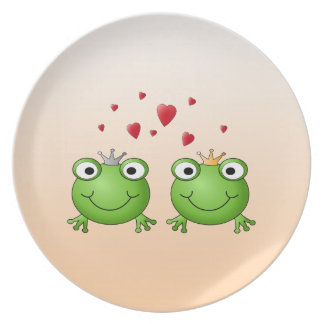Frog Prince and Frog Princess, with hearts. Plate