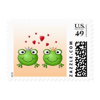 Frog Prince and Frog Princess, with hearts. Stamp