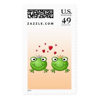Frog Prince and Frog Princess, with hearts. Postage Stamps