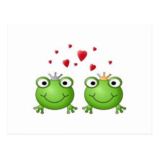 Frog Prince and Frog Princess, with hearts. Postcard