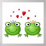 Frog Prince and Frog Princess, with hearts. Print