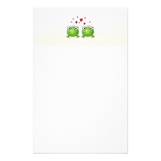 Frog Prince and Frog Princess, with hearts. Stationery
