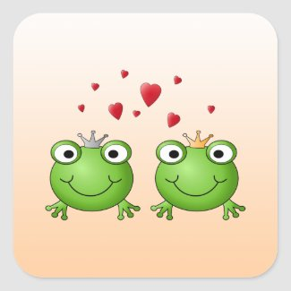 Frog Prince and Frog Princess, with hearts. Square Sticker