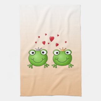 Frog Prince and Frog Princess, with hearts. Towels