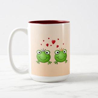 Frog Prince and Frog Princess, with hearts. Two-Tone Coffee Mug