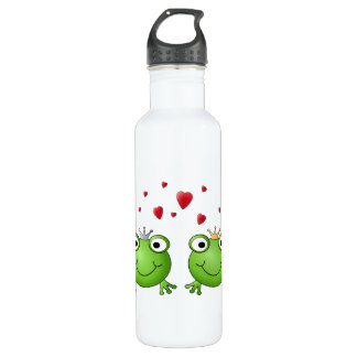 Frog Prince and Frog Princess, with hearts. Water Bottle