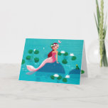 """Frog Prince and Mermaid Greeting Card<br><div class=""""desc"""">Frog Prince and Mermaid Greeting Card Template. A sweet little Mermaid sitting on a stone surrounded by water lilies. She is accompanied by little crowned frog wearing a crown. A cute design with beautiful illustrations by Ulla at mermaid.fi (that's me!). Perfect for all as a birthday gift, or for anyone...</div>"""