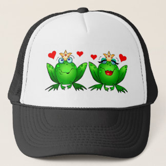 Frog Prince and Princess Cute Green Cartoon Frogs Trucker Hat