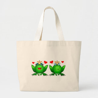 Frog Prince and Princess Happy Green Frogs Large Tote Bag
