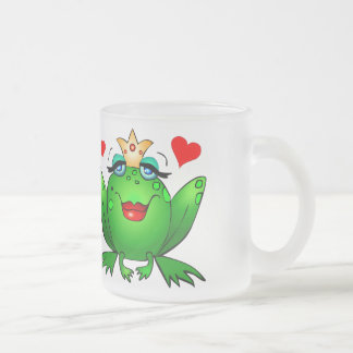 Frog Prince and Princess Hearts Cute Cartoon Frogs Frosted Glass Coffee Mug