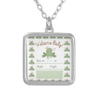 Frog Prince Announcement Square Pendant Necklace