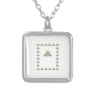 Frog Prince Baby Announcement Square Pendant Necklace