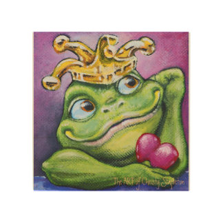 "Frog Prince by TACS 8"" x 8"" wood wall art"
