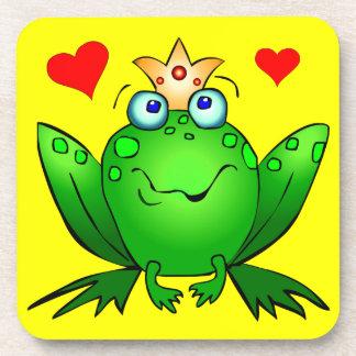 Frog Prince Cheerful Cartoon Frog Yellow Coaster