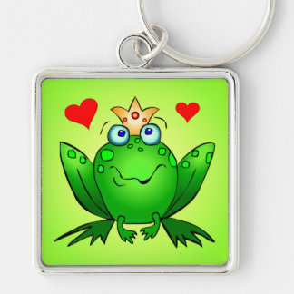 Frog Prince Crown and Hearts Green Keychain
