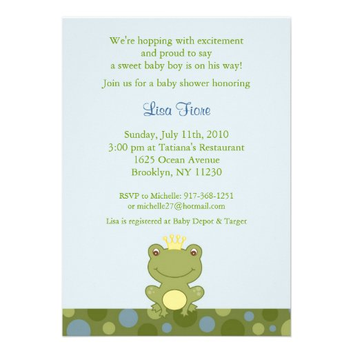 frog prince froggy baby shower invitations 5 x 7 invitation card