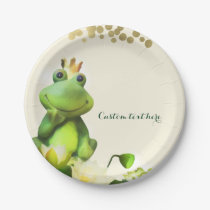 Frog Prince Green & Gold Baby Shower Custom Party Paper Plate