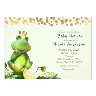 Frog Prince Green Gold Baby Shower Invitations